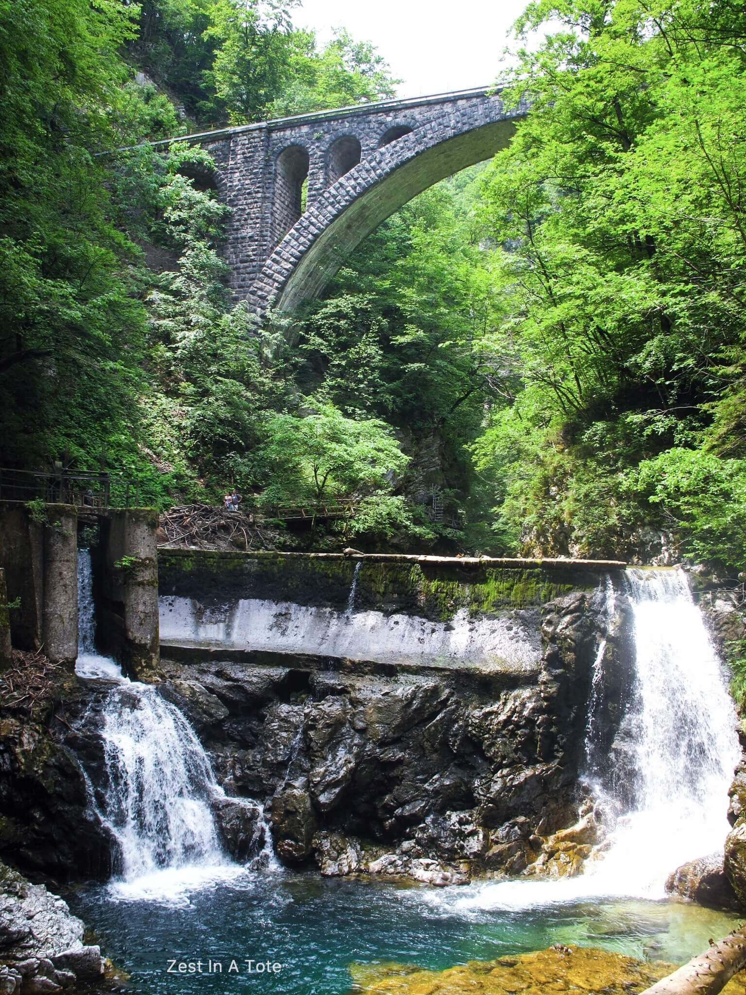 Stone bridge and the dam at Vintgar Gorge