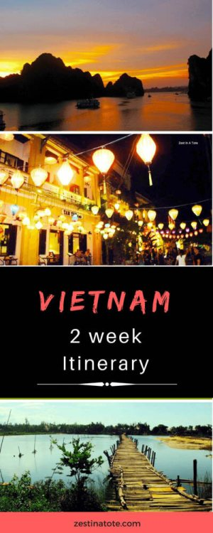 This 2 week itinerary is at a relaxed pace for travellers who want a mix of top sights, culture, food with enough time for relaxing on the beach and adventure activities. #vietnam #vietnamitinerary #visitvietnam #halongbay #hoian #hue #condaoislands #cuchitunnel