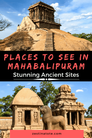 The group of rock cut monuments and cave temples make for unique and interesting places to visit in Mahabalipuram. These monuments are a UNESCO World Heritage site and make Mahabalipuram one of the most famous destinations in South India. #placestovisitinmahabalipuram #mahabalipuram #india