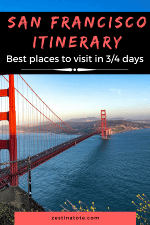 We spent 4 fun-filled days in San Francisco. Iconic views of the city and Golden Gate bridge, enjoying sunny days at Golden Gate Park, lively cafes and interesting museums, touristy spots - we packed a lot in our San Francisco itinerary. #sanfranciscoitinerary #4daysinsanfrancisco #bestplacestovisit