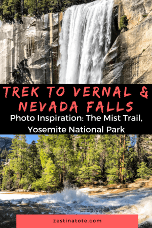 The Mist Trail to view Vernal Falls and Nevada Falls is one of the most popular hikes in Yosemite and for good reason. See this Photo Log for stunning views scattered all along this trek and close views of Vernal Falls. #usa #yosemitenationalpark #yosemitehikes #vernalsfalls #nevadafalls #misttrail