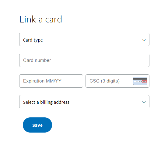 PayPal Link a card