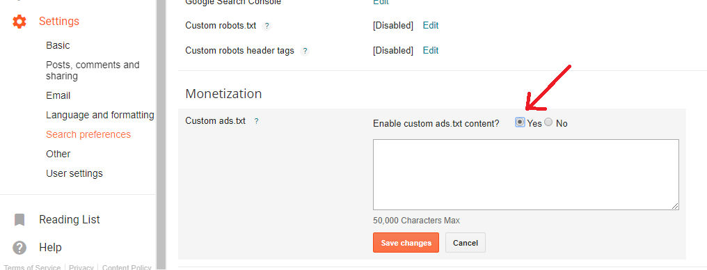 Blogger custom ads.txt settings