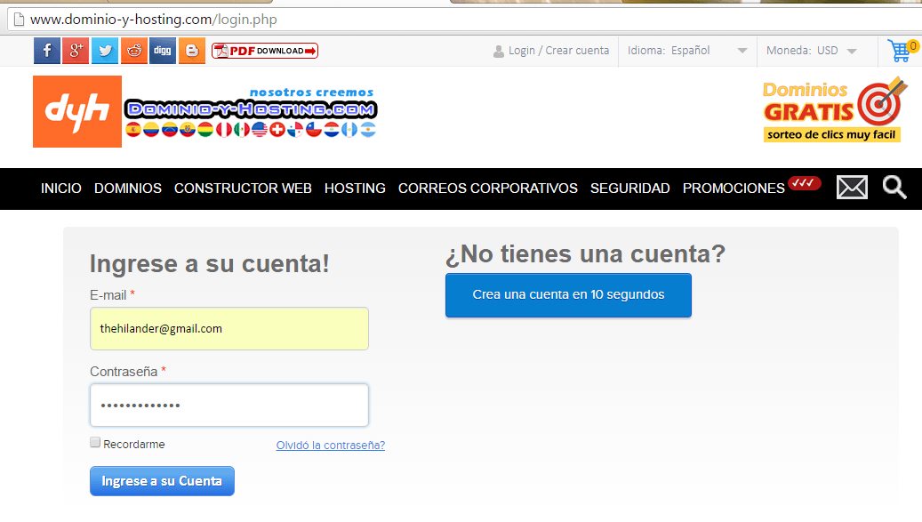 Login Dominio y Hosting 2