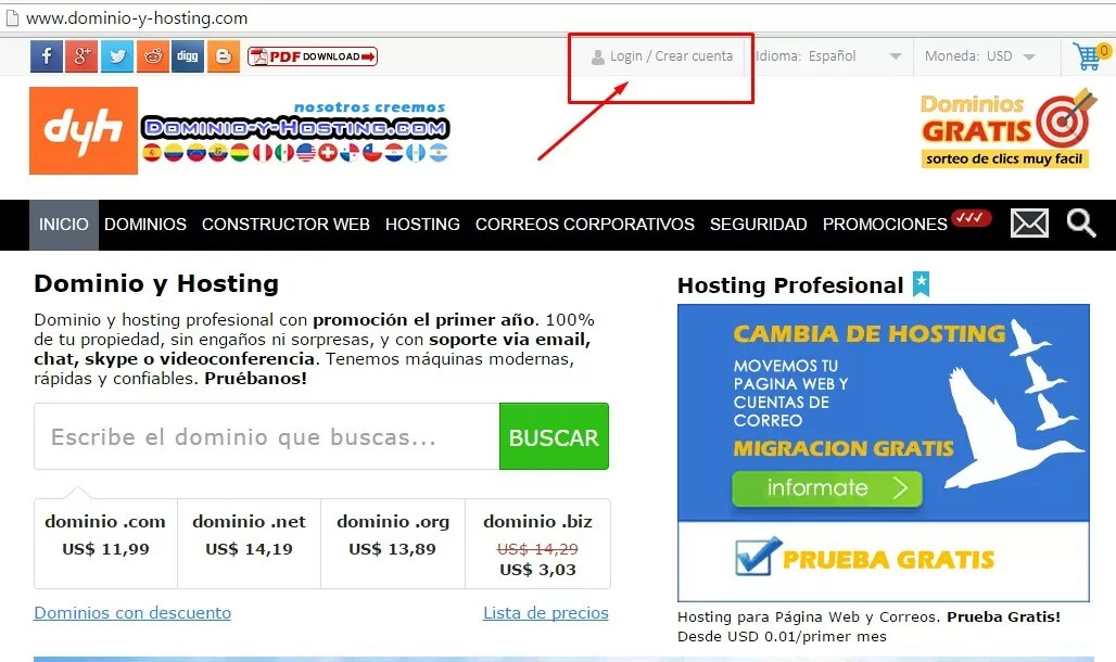 Login Dominio y Hosting