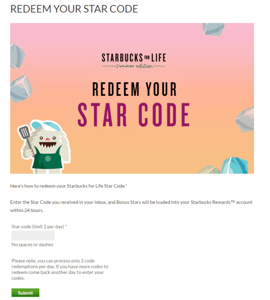 starbucks star code for rewards