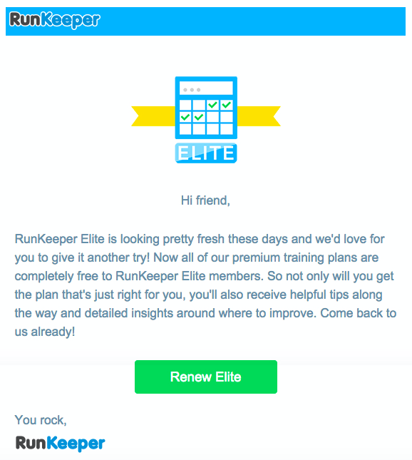 Runkeeper customer retention email