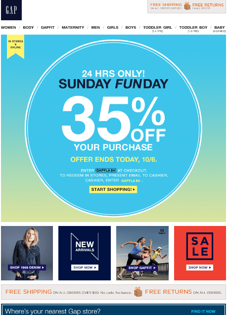 gap special offer email