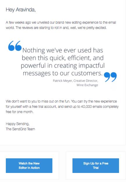 sendgrid nudge email