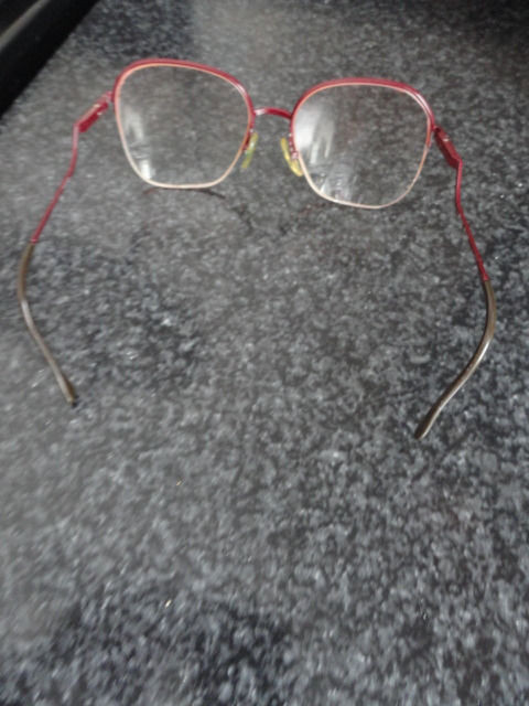 "Vintage Mod Retro Maroon 1/2 ""Bent"" Wire Eyeglasses Great Temples Work of Art"