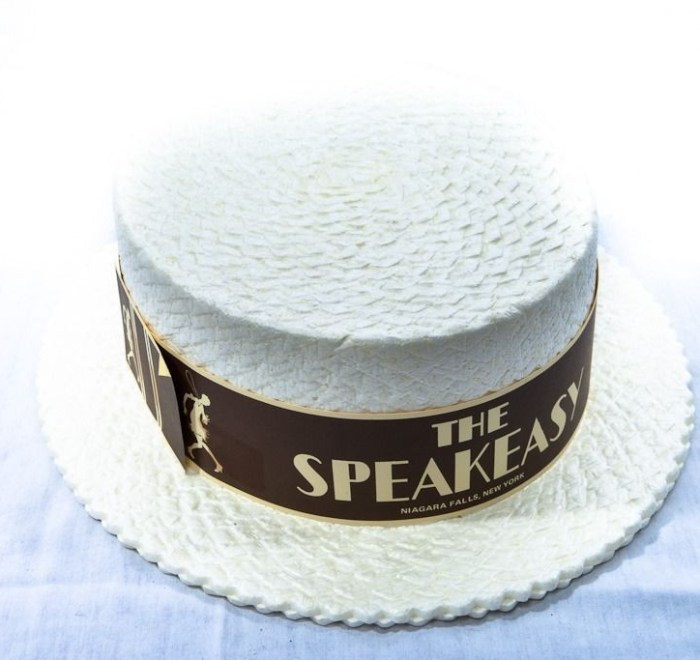 "Vintage '68  Men's Boater Hat ""THE SPEAKEASY"" Niagara Falls New York Styrofoam"