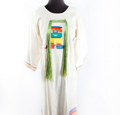 Vtg Women's Telqaepace Aztec Image 70's Hand Embroidered Maxi Mexican Dress L