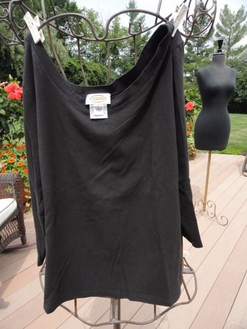 Talbots Black Top Blouse V Neck Long Sleeve Large 94% Cotton 6% Spandex NWOT