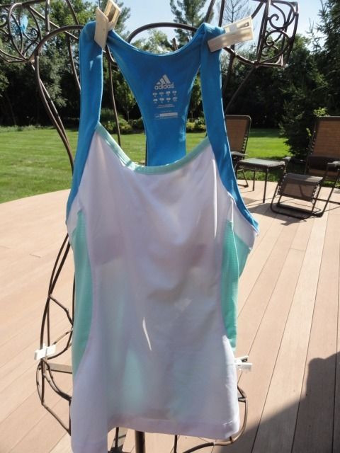 Women's Adidas ATS Thermo System Tennis Top Built In Bra White Blue Green NWOT