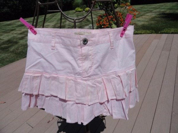 Women's Pink BONGO Ruffled Skirt Size 3 Cotton Spandex NWOT