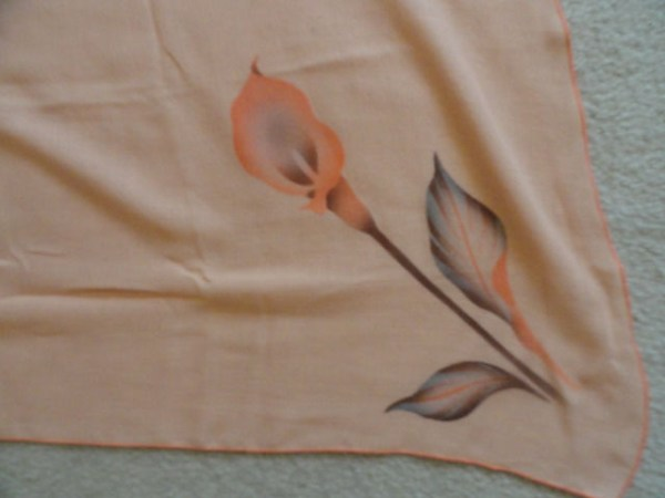 Vintage ELON of CALIFORNIA By MONIKA TILLEY Saks Fifth Avenue Orange Lilly Scarf