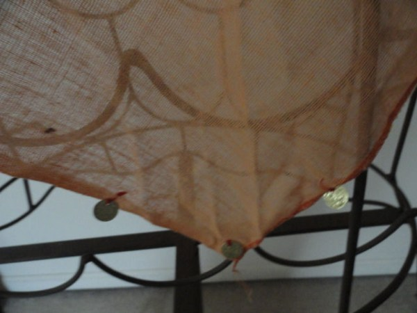 "Vintage 1970's Orange Triangle Scarf With ""Gold Coins"" 100% Cotton Gauze Greece"
