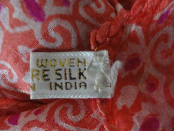 Vintage Orange & Pink Handwoven 100% Pure Silk Scarf Made in India 68x16 NWOT