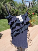 Women's Eyelash Navy Blue Ruffle Spaghetti Adjustable Straps Top Blouse M NWT