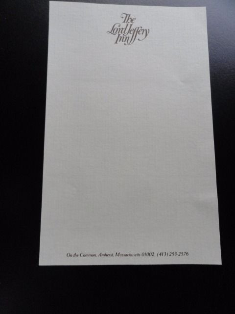 1988 Amherst College THE LORD JEFFERY INN Stationery On The Common New