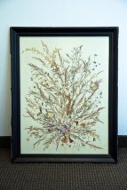 "Vintage 1978 Dried Greek Flowers On Linin By Artist S. Razebos Signed ""R"" Greece"