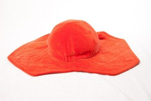 Vintage Women's Burnt Orange Velvet Wide Brim Hat Cord On Brim No Tag Preown