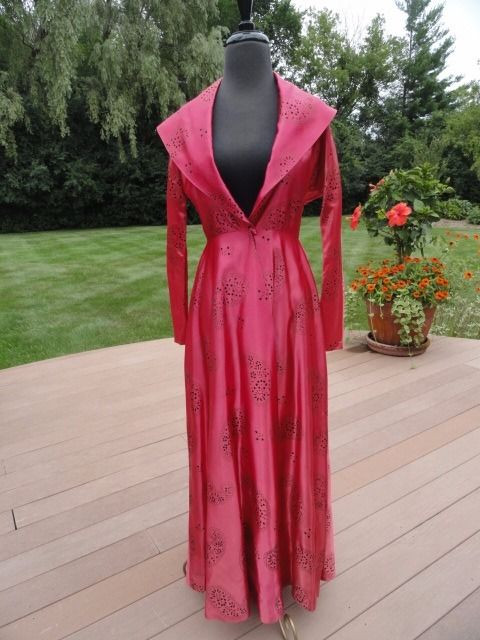 Vtg Evening Gown Rose Black Velvet Pasiley Colored Satin Handmade Silhouette S