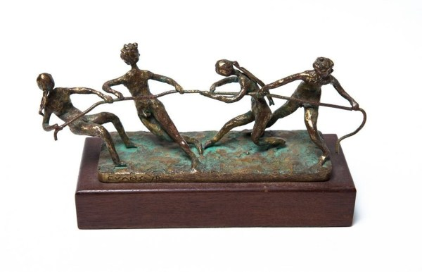 Vtg 1970's Bronze Sculpture Tug Of War Children Signed Artist EVANS Hand Made