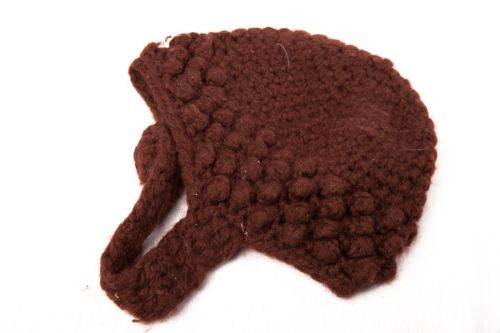 Vintage Women's Brown Wool Knit Saks Fifth Avenue Hat With Neck Strap Button
