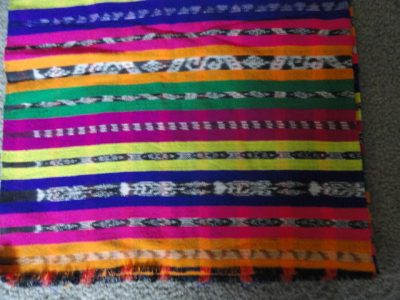 "Vintage 1970 Guatemala Ikat Weave Hand Woven Textile Fabric 5.3 Yards x 36"" Wide"