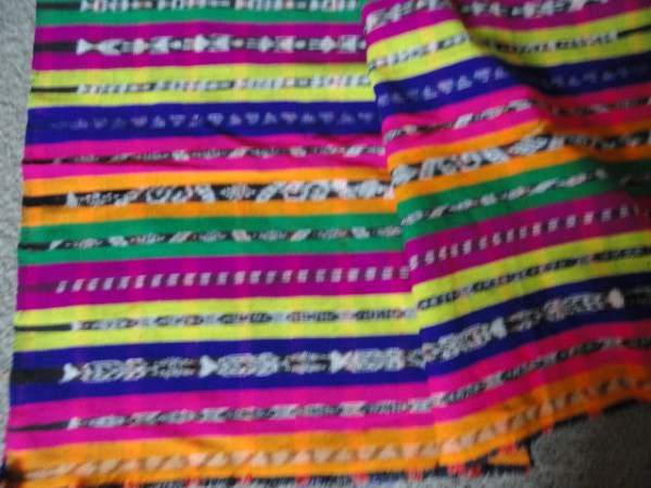 """Vintage 1970 Guatemala Ikat Weave Hand Woven Textile Fabric 5.3 Yards x 36"""" Wide"""
