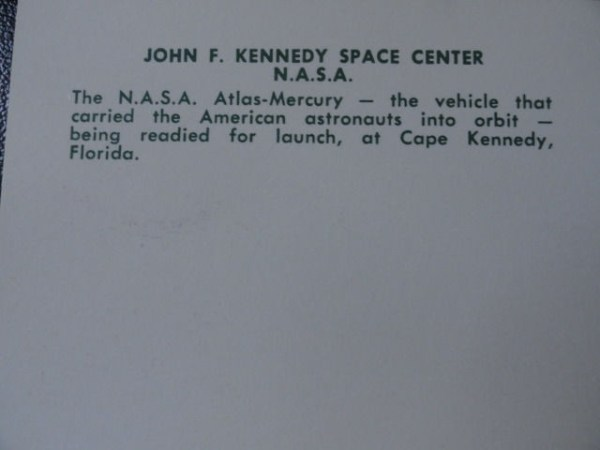Vtg  60's NASA Postcard #54331 John F Kennedy Space Center NASA Atlas-Mercury
