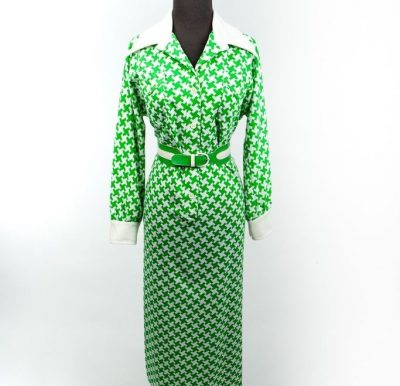 Vintage Women's Saks Fifth Avenue Green & White Maxi Dress Leather Belt S 14