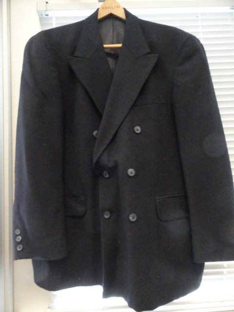 Men's BACHRACH 100% Wool Sport Jacket Coat 42 S Made In Columbia Navy Preowned