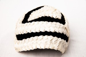 Vtg 50's Women's Hand Woven Straw Pill Box Hat Saks Fifth Avenue Bl & White