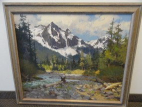 "Vtg Fine Art 1970 KEN GORE Painting Oil on Masonite""IN THE ROCKIES"" 30"" x 36"""