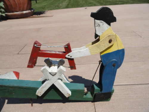 Vintage Folk Art WHIRLIGIG Primitive Painted Wood  Metal Old Man Sawing c 1930s