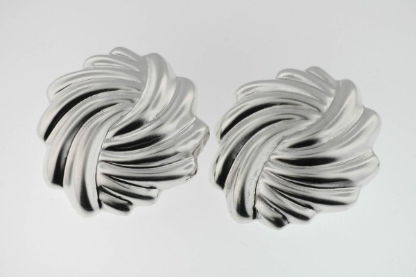 Vintage 1970''s Sterling Silver Large Swirl Earrings Mexico 925 Non Pierced