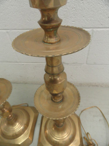 "Vintage Solid Hand Hammered Brass Table Lamps Made In Morocco 46"" Tall Great Con"