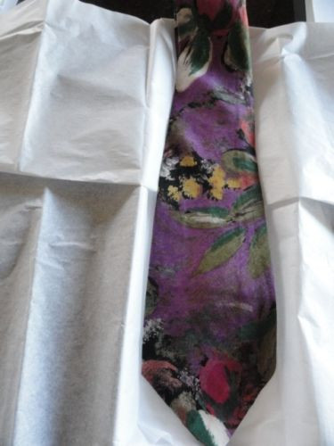 "Vintage Men'sTerenzi Floral Tie 100% Rayon Imported Fabric 3"" x 55"" USA NWOT"