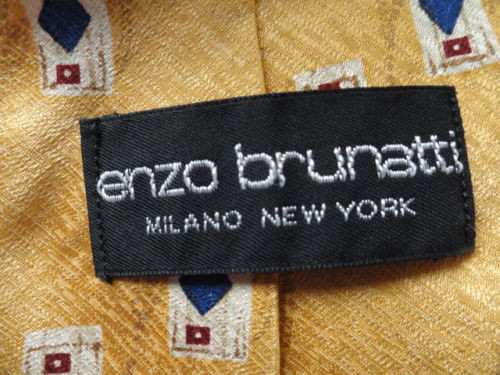 Vintage Men's ENZO BRUNATTI Tie MILANO NEW YORK 100% Imported Silk