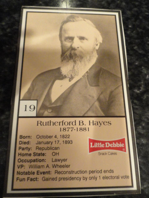 Vintage Little Debbie 1992 Presidential Trading Card #19 Rutherford B  Hayes