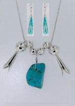 Vtg Turquoise Nugget Necklace Silver Beads Trumpet & Turq Strand Earrings