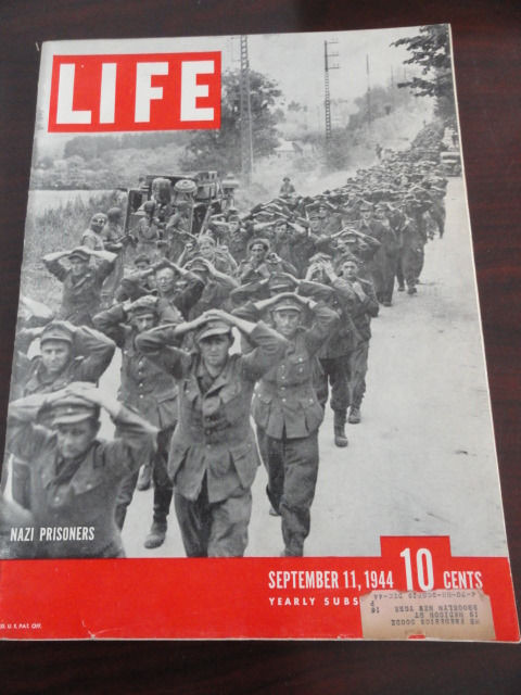 Vintage Life Magazine September 11, 1944 Nazi Prisoner On Cover Excellent Cond