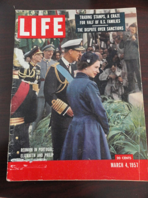 Vintage Life Magazine March 4, 1957 Elizabeth and Philip On Cover Excellent Cond