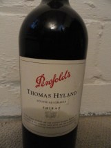 "PENFOLDS SHIRAZ THOMAS HYLAND  Dummy Display Wine Empty Glass Bottle 18"" Corked"