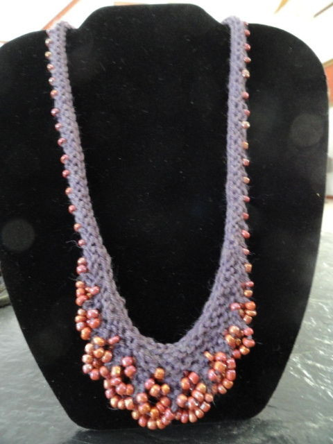 Handmade Necklace Eggplant Merino Wool Garter Stitch With Glass Seed Beads MNT