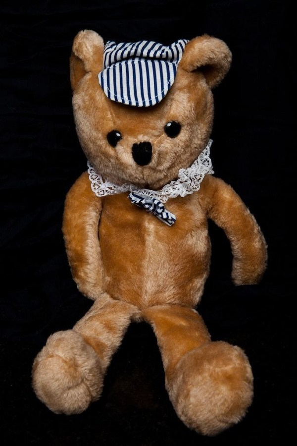 Vintage Teddy Bear Brown With Lace Collar A Railroad Conductors Hat & Bow 17""