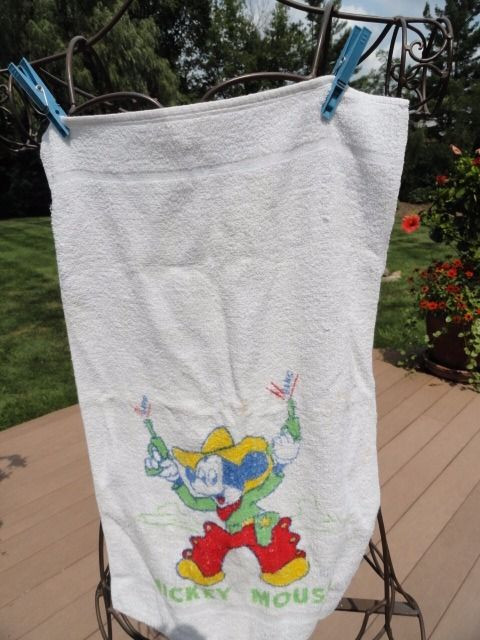 MICKEY MOUSE 1950's Hand Towel Vat-Dyed By GILDEX 23 x 14 Cowboy Mickey Mouse
