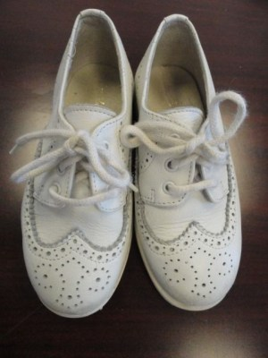 "Boys White Leather Oxford ""Shoe Be Doo"" Shoes Made In Italy Euro 27 USA 10"